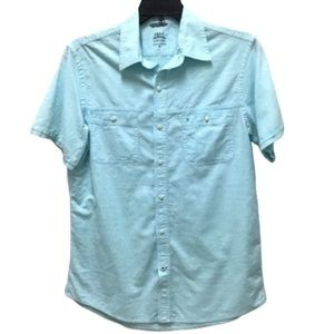 Izod Blue Salwater Relaxed Classics Shirt, M